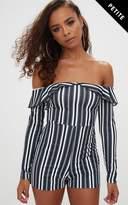 PrettyLittleThing Petite Black Stripe Bardot Playsuit