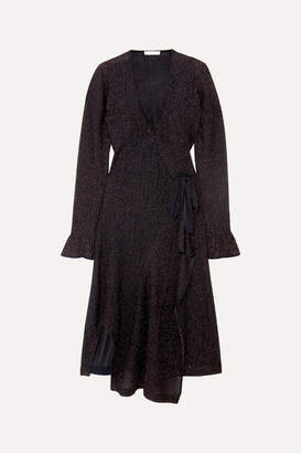 Chloé Embroidered Knitted Wrap Dress - Navy