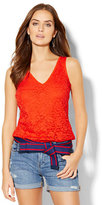 New York & Co. Eyelet V-Neck Top