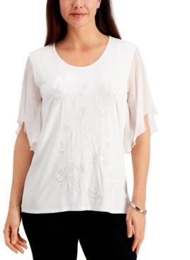 JM Collection Petite Chiffon-Sleeve Embellished Top, Created for Macy's