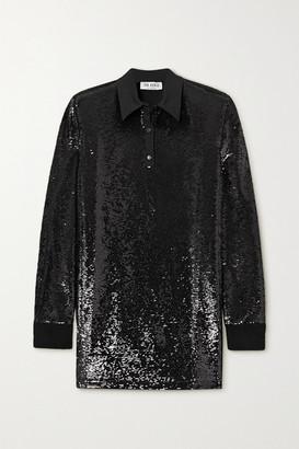 ATTICO Satin-trimmed Sequined Jersey Mini Shirt Dress