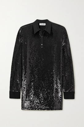 ATTICO Satin-trimmed Sequined Jersey Mini Shirt Dress - Black