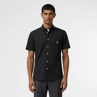 Burberry Short-sleeve Monogram Motif Stretch Cotton Shirt
