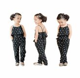 Cakaco_Girls dress Kids Girls Pants Clothing Love Heart Straps Rompers Jumpsuits Piece Pants Clothing