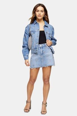 Topshop PETITE Diamante Denim Mini Skirt