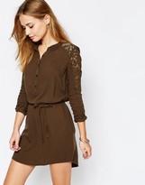 Vila Lace Sleeve Belted Shirt Dress