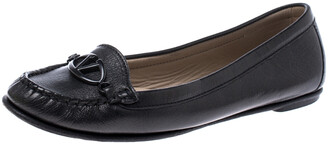 Valentino Black Leather Loafer Flats Size 38