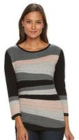 Dana Buchman Women's Textured Stripe Scoopneck Sweater