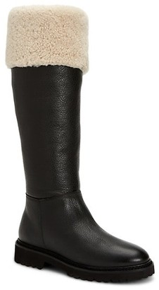 Aquatalia Magnolia Knee-High Shearling-Lined Leather Boots