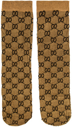 Gucci GG Socks in Beige & Dark Brown | FWRD