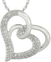 FINE JEWELRY 1/3 CT. T.W. Diamond 10K White Gold Double Heart Pendant Necklace