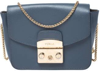 Furla Blue Leather Mini Metropolis Crossbody Bag