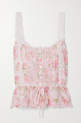 LoveShackFancy Luanne Crochet-trimmed Floral-print Broderie Anglaise Cotton-voile Top - Pink