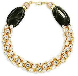 Lizzie Fortunato Women's Emerald Sky 18K Yellow Goldplated, Crystal & 13-15MM Freshwater Pearl Collar Necklace
