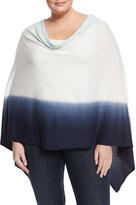Minnie Rose Double Dip-Dye Ruana Sweater Poncho, Jadeite/Navy, Plus Size