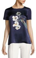 Escada Ebloomia Silk-Front Cotton Tee