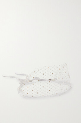 Gigi Burris Millinery Lace-trimmed Faux Pearl-embellished Tulle Veil - Ivory