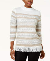 Alfred Dunner Eskimo Kiss Petite Mock-Neck Fringed Sweater