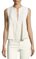 Isabel Marant Crochet-Trim Sleeveless Tunic Blouse, Ecru