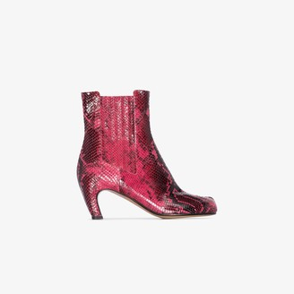 Maison Margiela Red And Black Tabi 80 Snake Print Boots
