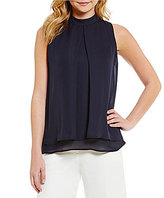Antonio Melani Ainsley Mock Neck Sleeveless Silk Blouse