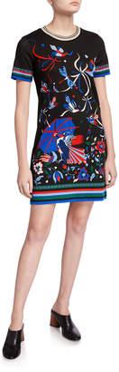 Tory Burch Printed Short-Sleeve T-Shirt Dress