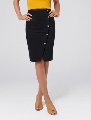 Forever New Betty Asymmetric Button Denim Skirt - Black - 4