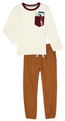 365 Kids From Garanimals Boys Long Sleeve T-Shirt & Woven Jogger Pants, 2-Piece Outfit Set, Sizes 4-10