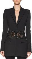 Alexander McQueen Beaded Sheer-Panel Jacket, Black