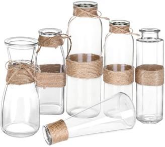 Overstock Glass Vases Clear Flower Bud Vase- Set of 6