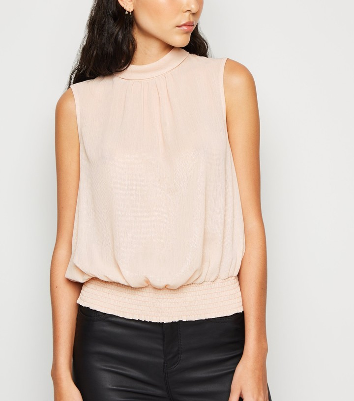 Thumbnail for your product : New Look Glitter Shirred Hem Tie Neck Top