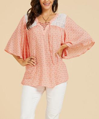 Suzanne Betro Weekend Women's Tunics 101RUST/WHT - Rust & White Geometric Lace-Up Front Crochet-Detail Tunic - Women & Plus