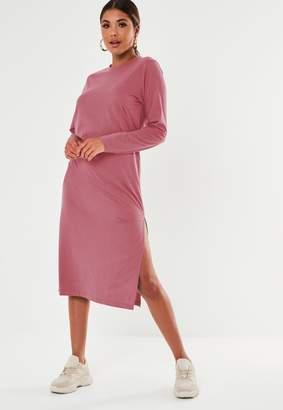 Missguided Blush Basic Long Sleeve Midi T Shirt Dress