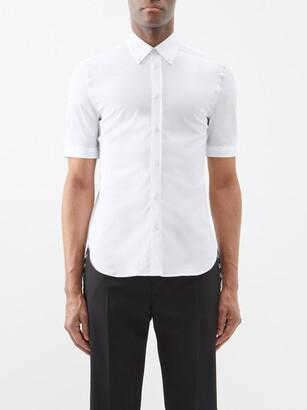 Alexander McQueen Short-sleeved Cotton-blend Poplin Shirt - White