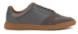 HUGO BOSS Low Top Sneakers In Suede And Nappa Leather - Dark Blue