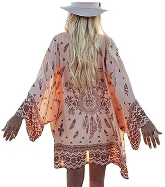 Homall Ho Mall Bohemia Embroidered Indian Twilight Geometry Print Lace Maxi Beach Chiffon Kimono Cover Up Beachwear (One Size