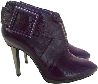 Sergio Rossi Purple Leather Ankle boots