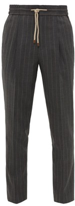 Brunello Cucinelli Drawstring-waist Pinstriped Wool-crepe Trousers - Mens - Charcoal