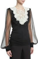 Naeem Khan Cashmere Tulle-Sleeve Sweater with Lace Bib, Black/White