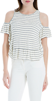 Max Studio Cold Shoulder Stripe Jersey Top, Ivory