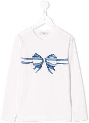 MonnaLisa bow print long-sleeved T-shirt