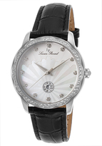 Lucien Piccard Black & Mother-of-Pearl Balarina Leather-Strap Watch - Women