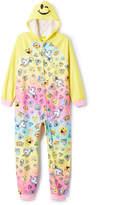 Komar Kids Yellow & Pink Emojination Hooded Sleep Bodysuit - Girls