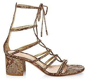 Gianvito Rossi Women's Dallas Snakeskin-Embossed Metallic Leather Lace-Up Sandals