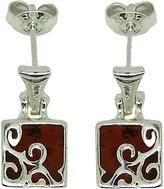 Goldmajor Amber Sterling Silver Trellis Drop Earrings, Silver/Amber