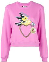 House of Holland Dove Heart cropped sweatshirt - women - Cotton - 6