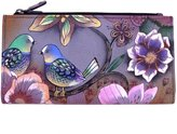 Anuschka Two Fold Organizer Genuine Leather Hand Painted Snap & Zip Wallet