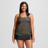 Ava & Viv Women's Plus Size Swim Crochet Back Tankini Top Black Print 16W