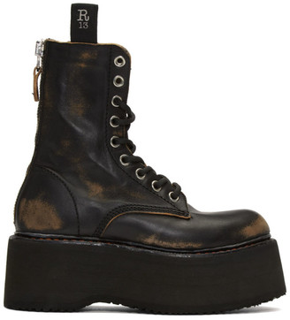 R 13 Black Double Stacked Lace-Up Boots