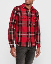 Express Slim Plaid Pocket Flannel Shirt Jacket